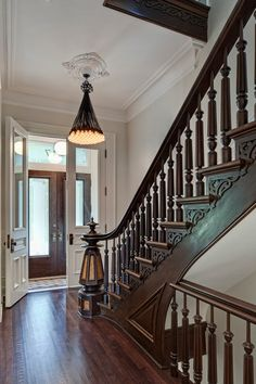 Brownstone Stairs Design Ideas, Pictures, Remodel and Decor Traditional Staircase, Traditional House, Traditional Interior, Victorian Interiors, Victorian Architecture, Classical Architecture, Brownstone Interiors, Modern Victorian Homes, Brooklyn Brownstone