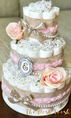 Shabby Chic Pink Gold Floral Diaper Cake Baby Girl Pearl