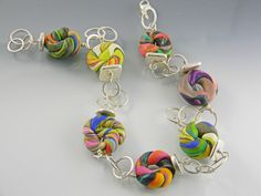 polymer clay and sterling silver necklace ISAJUL Jewelry