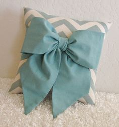 Teal and Off White Chevron Bow Accent-Throw Pillow by pillowsbycindee at etsy. $20.00, via Etsy.