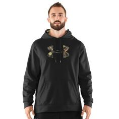 Men's Armour® Fleece Tackle Twill Logo Hoody Tops by Under Armour Large Black by Under Armour. $59.99. Armour® Fleece fabrication delivers a brushed inner layer and a quick-drying, lightweight outer layer. Soft inner layer traps heat to keep you warm and comfortable. Signature Moisture Transport System wicks sweat away from the body. Three-piece hood construction for superior fit. Front kangaroo pocket. Large camouflage UA logo and camo-lined hood add some hunt t...