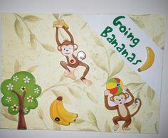 Monkeys Going Bananas Monkeys, Bananas, Greeting Cards, Christmas Ornaments, Holiday Decor, Home Decor, Rompers, Decoration Home, Room Decor
