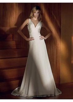 LACE BRIDESMAID PARTY BALL EVENING GOWN IVORY WHITE SATIN CHIFFON A-LINE V-NECK WEDDING DRESS