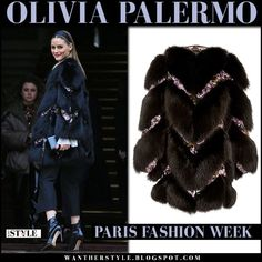 Olivia Palermo in black fur chevron coat, black pants and black ankle boots at Giambattista Valli fashion show in Paris on March 6 2017