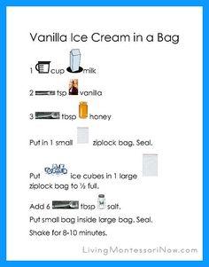 Vanilla Ice Cream in a Bag Recipe Page