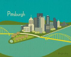 @Ellen Gallerini.....Gotta admit--this is kinda cute. Pittsburgh Skyline, Pennsylvania Poster choice of orange or blue) Art  Poster Print  for Home, Office, and Nursery - Best Seller. $19.99, via Etsy.