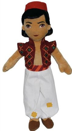 15 inch tall soft plush Aladdin doll in a costume inspired by the stage show. Aladin, Broadway Plays, Peter Pan Disney, Stage Show, Disney Dolls, Disneybound, Plush Dolls, Ronald Mcdonald, Musicals