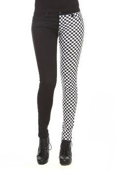 Black And Checkered Split Leg Skinny Jeans from Hot Topic