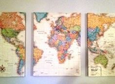 Modge podge map onto canvas and stick pins in the places you've been.