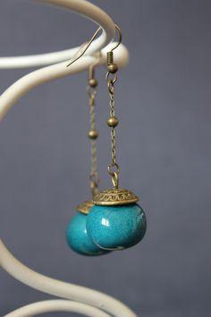 Boucles d'oreilles céramique bleue