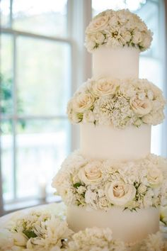 White Roses and Hydrangeas Wedding Cake Decor | photography by http://www.meganclouse.com/