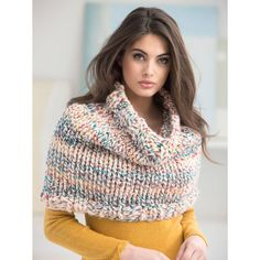 Free knitting pattern for Dobbs Ferry Cowl - worked with 3 strands of bulky yarn held together. Worn as cape or poncho in this photo Capelet Knitting Pattern, Knitted Capelet, Knit Cowl, Loom Knitting, Knitting Patterns Free, Free Knitting, Free Pattern, Knit Or Crochet, Crochet Shawl
