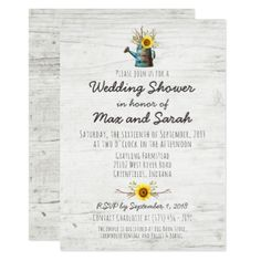 Sunflower & Rustic Wood Farm Wedding Shower Invite - rustic country gifts style ideas diy