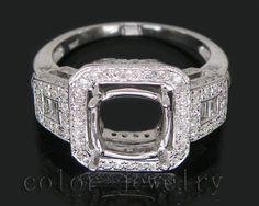 Cushion 8mm 14kt White Gold 1 10ct Diamond Engagement Semi Mount Ring   eBay