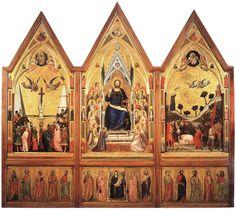 pintura al óleo sobre madera Giotto di Bondone 1320 Encargado por el cardenal Stefaneschi para el altar mayor de la basílica de san Pedro del Vaticano, está pintado dentro de una estructura gótica con un fondo dorado propio del arte medieval, a pesar que el naturalismo de las figuras ya se acerca al Renacimiento. En la tabla central se encuentra el Cristo entronizado, mientras que en la predela aparece la Virgen con los doce apóstoles.