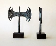 This unique item is cast in solid bronze with verdigris patina and stands on black Greek marble base.  Of all the Minoan Cretan civilization