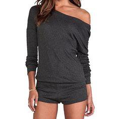 Women's Fashion Long Sleeve Strapless Off Shoulder Romper