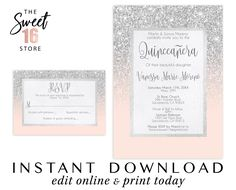 Sweet 16 invitation & Response Card, Sweet 16 rsvp Pink and Silver Glitter invitation, Birthday Invitations Editable Printable Text Message Invitations, Save The Date Invitations, Invitation Set, Wedding Invitation Cards, Birthday Party Invitations, Invite, Princess Invitations, Sweet Sixteen Invitations, Glitter Party Decorations
