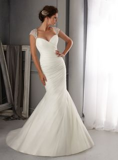 2014 Off The Shoulder Tulle Mermaid/Trumpet Wedding Dress Pleated Bodice With Court Train Beaded 10993707 - Sexy Wedding Dresses - auroraldresses.Com