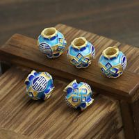 Sterling Silver Cloisonne Large Hole Bead Lantern handmade Approx 4mm Sold By PC