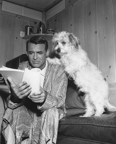 Cary Grant with dog and script