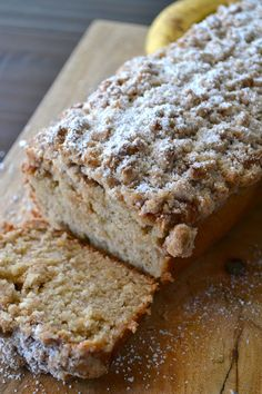 This Cinnamon Crumb Banana Bread is the perfect combination of moist banana bread and a crumbly coffee cake topping. It is a crowd pleaser!