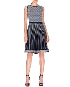 Sleeveless Striped Knit Fit-and-Flare Dress, Black/White by Etro at Bergdorf Goodman.