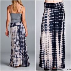 Last One ! Tye Dye Maxi Skirt Super soft Tye dye print maxi skirt with rollover waist band . Flattering fit and will look great with a simple tank or tunic . These are Tye dye so variations in color are the look and will vary for each garment . Black gray Tye dye tone . Light weight easy to walk in and sandals or wedges will give it a different look ! Vivacouture Skirts Maxi