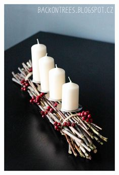Simple And Popular Christmas Decorations Table Decorations Christmas Candles DIY Christmas Centerpiece Christmas Crafts Christmas Decor DIY Advent Candles, Christmas Candles, Noel Christmas, Rustic Christmas, Simple Christmas, Winter Christmas, Christmas Wreaths, Christmas Ornaments, Advent Wreaths
