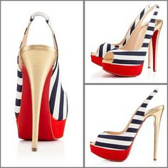Louboutin Lady Peep Sling 150mm Red Navy Tpile Rayee