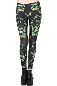 """""""Green Vine"""" Black Leggings. Description Leggings, have been crafted from elastic fabric design, featuring brief styling with various green vine print look design, a stretchy waist and all in a soft-touch stretch finish. Fabric Dacron and Spandex. Washing 40 degree machine wash , low iron. #Romwe"""
