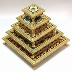Golden Meenakari Chowki Set