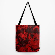 Red Marble Tote Bag Crimson Galaxy Printed Shoulder Bag by PrtSkin
