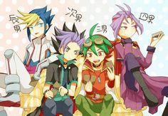 Yuto, Yugo, Yuya Sakaki and Yuri   Yugioh Arc-v