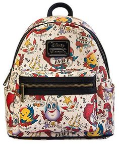 Disney The Little Mermaid Tattoo Vegan Faux Leather Mini Backpack Loungefly. mini backpack with exterior side pockets. Disney Handbags, Disney Purse, Mini Backpack Purse, Small Backpack, Cute Mini Backpacks, Kids Backpacks, Disney Collection, Faux Leather Backpack, Disney Outfits