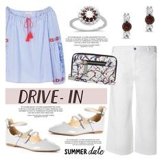 """""""Summer Date: The Drive-In"""" by blossom-jewels ❤ liked on Polyvore featuring Tory Burch, Dorothy Perkins, DateNight, contestentry, drivein, summerdate and Blossomjewels"""