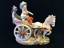 Antique German GDR porcelain. Colorful carriage . Marked.
