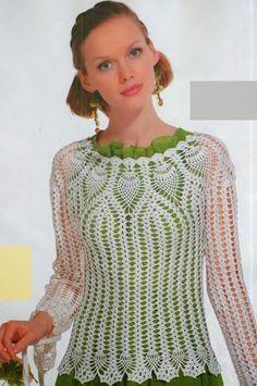 crochet pineapple fashion for ladies: crochet lace tunic crochet patterns T-shirt Au Crochet, Pull Crochet, Crochet Coat, Crochet Blouse, Crochet Clothes, Black Crochet Dress, Pineapple Crochet, Lace Tunic, Ideias Fashion