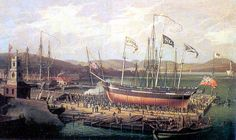 "Established in 1711 Cartsburn Yard, Greenock, Scotland, 1818. Launch of the ""Christian"""