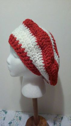 Red and White-Striped Crochet Beret - Ready to Ship (B43-1114) by NoreensCrochetShop on Etsy