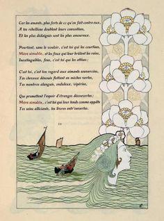 CARUCHET (Henri). - RICHEPIN (Jean)    LES LITANIES DE LA MER. Aquarelles originales d'après Henri Caruchet. Paris, Imprimé pour Albert Belinac, 1903. G