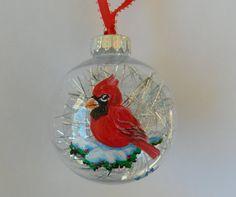 Handpainted Cardinal Red Cardinal Ornament by ElenaPaintings1