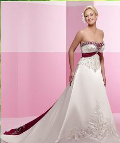 A line Princess Strapless Cathedral Train wedding dress (WD22)  [pretty w/ color that you can choose from]