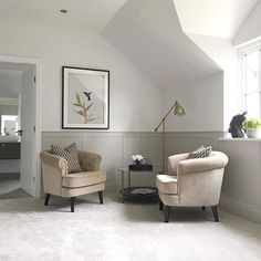 panelling cornforth white farrow and ball wall art master bedroom ideas decor inspo inspiration neutral chair interior design design my bed hygge home stylish space lighting self build new dream carpet eaves Cornforth White Farrow And Ball, Cornforth White Living Room, Cornforth White Hallway, Cornforth White Kitchen, Bedroom Carpet, Living Room Carpet, Hygge Home, White Carpet, Contemporary Interior