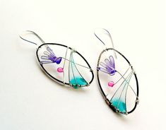 Flower earrings, pale lilac cyclamen, spring earrings, dangle earrings, oval earrings. $30.00 USD etsy