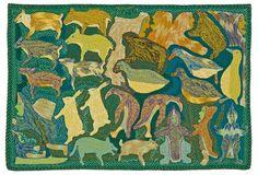 Elizabeth Angrnaqquaq Untitled, Wool felt, embroidery floss, cotton thread on wool duffle - Winnipeg Art Gallery Winnipeg Art Gallery, Contemporary Art Forms, Inuit Art, American Quilt, Felt Embroidery, Indigenous Art, Art Themes, Aboriginal Art, Sacred Art