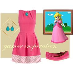 """Peach Stlyle - Mario Bros"" by kary-trevino on Polyvore #gamer, #mariobros, #princess #peach"