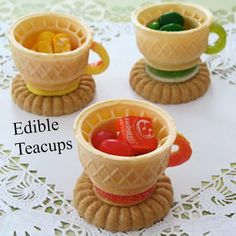 Idea for wee one -  Edible Tea Cups cut ice cream cones, reassemble, & put together w/ icing or melted chocolate. Use a cookie for the saucer. :-)