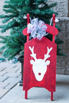 Occasionally Crafty: Sisters' Challenge {Red & White}: Reindeer Silhouette Painted Sled
