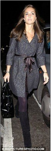 Kate was photographed wearing the stunning Zara basic grey shimmery wool winter coat a number of times during 2007.